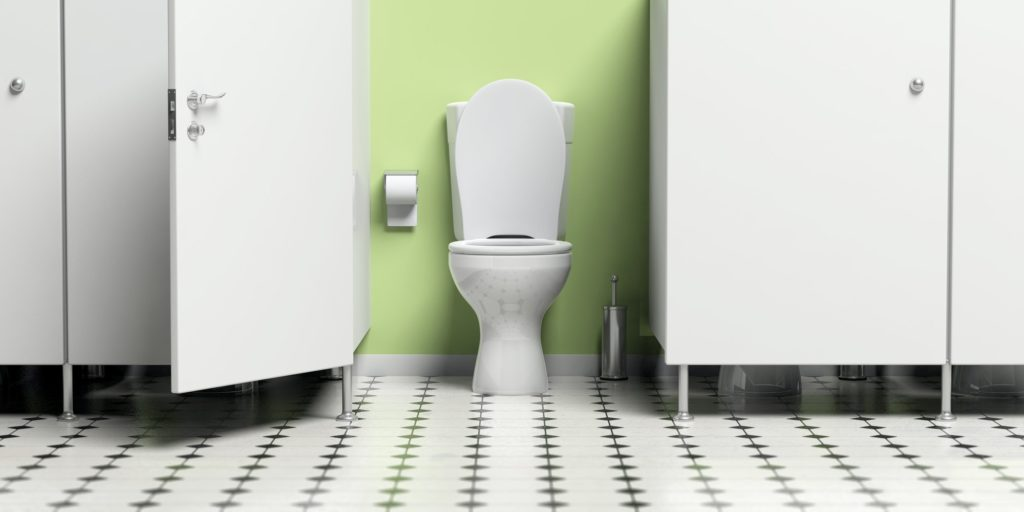 Water closet with open door and white toilet bowl. 3d illustration